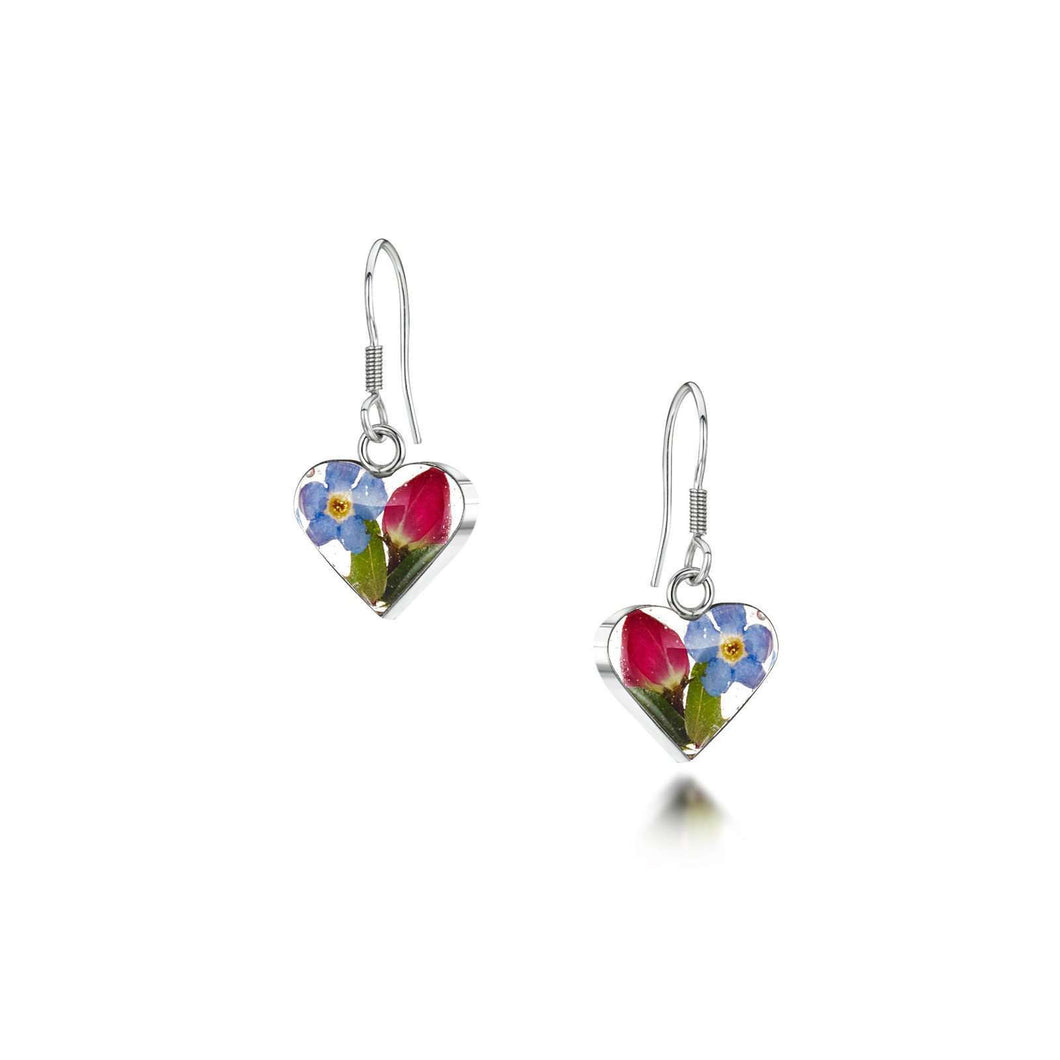Shrieking Violet Silver Drop Earrings - Rose & Forget Me Not
