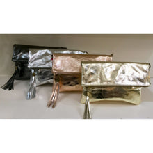 Missy All Leather Clutch Bag Metallic (Various Colours)