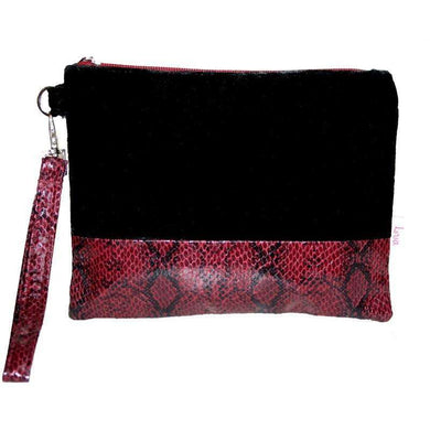 Lua Black Snakeskin Velvet Wrist Purse (2 Colours)