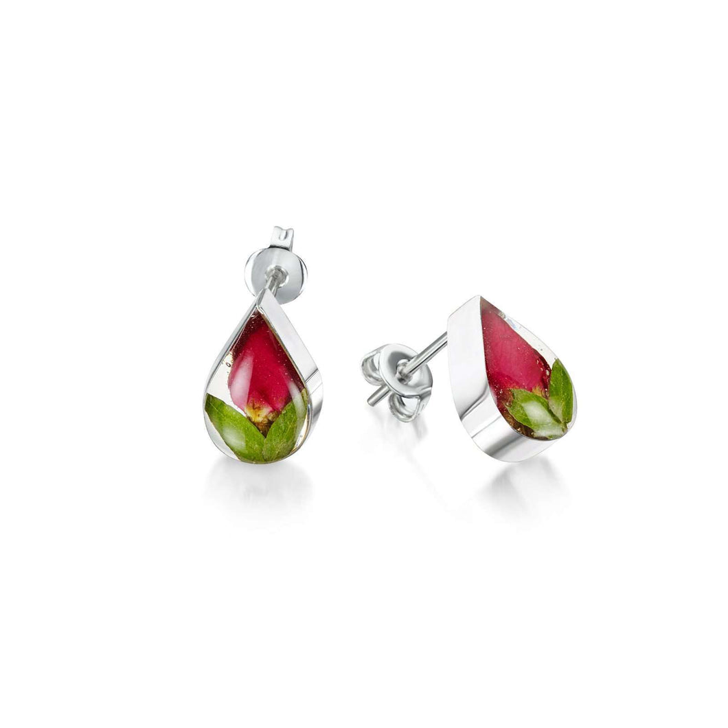 Shrieking Violet Silver Tear Drop Stud Earring - Rose Bud