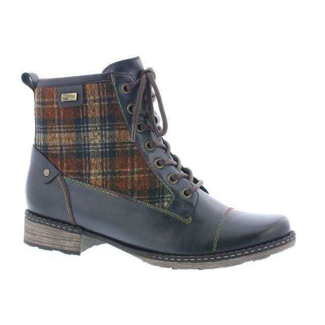 Ankle Boot With Check Design Remonte Blue Combination