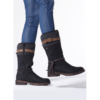 Boot Knee Strap Detail Water Repellent Rieker Black