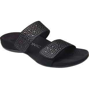 Sandal Slider With Sparkle Straps Vioinic Samoa Black