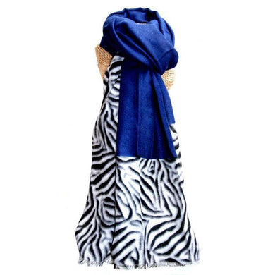 Lua Zebra Border Scarf Royal Blue