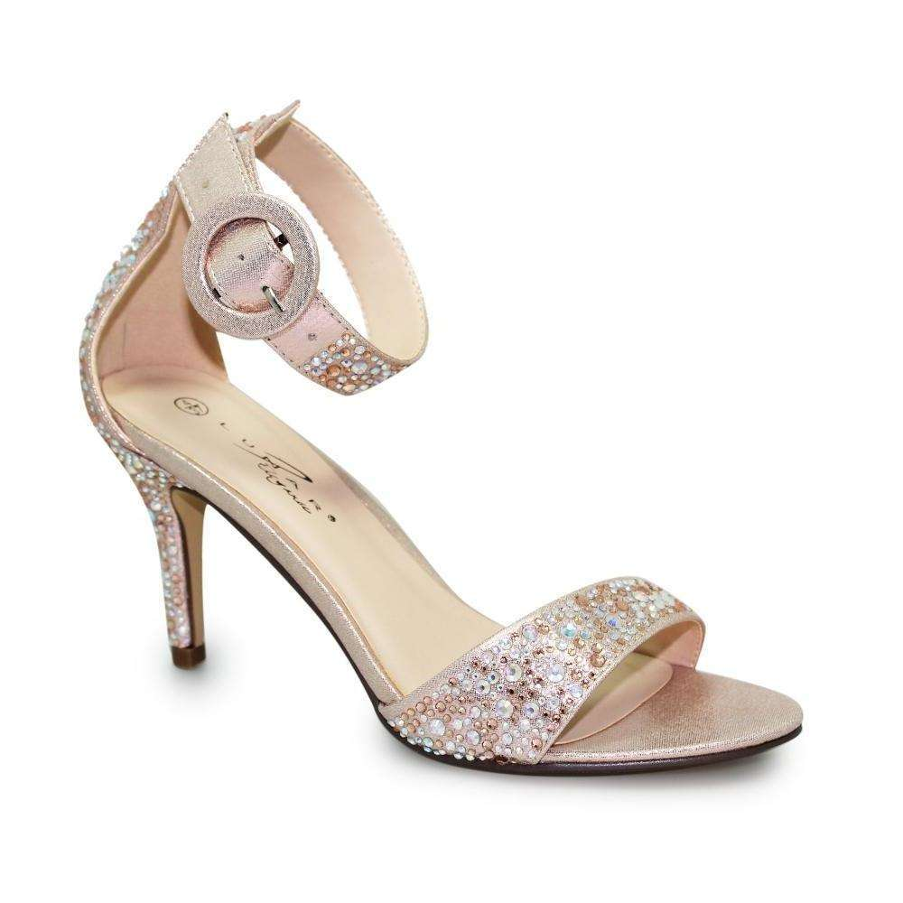 High Heel Ankle Strap Sparkle Lunar Selina Rose Gold