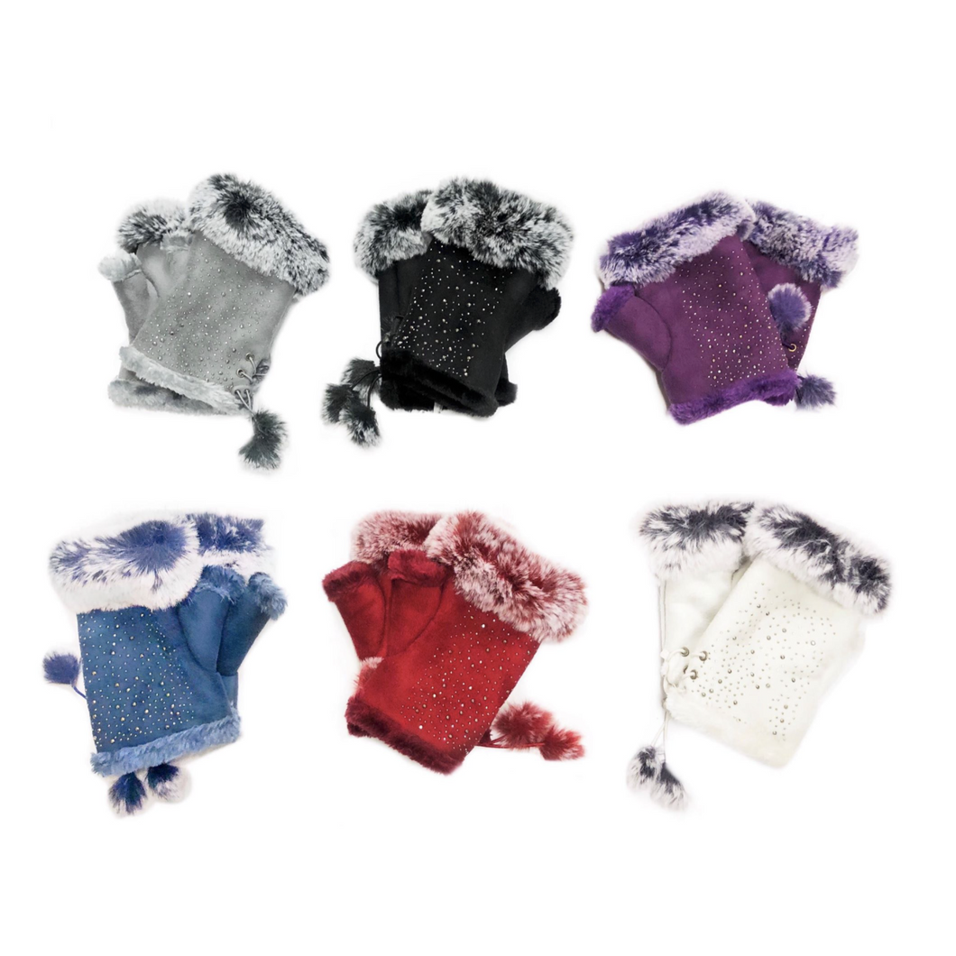 Gloves Mitten Faux Fur Diamante (3 Colours)