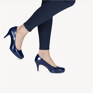 Court Shoe Rounded Toe Mid Heel Tamaris Deep Blue Patent