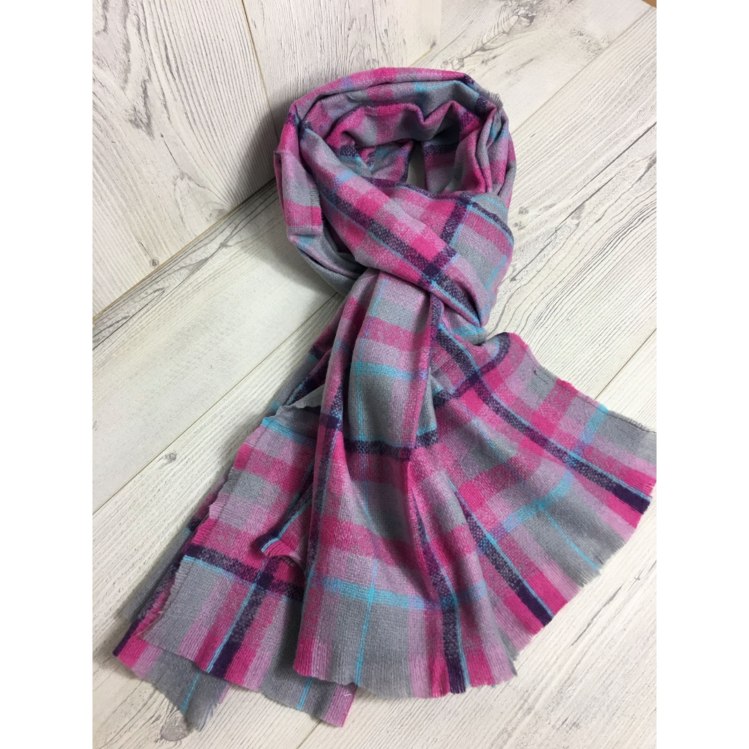 Scarf Fine Knit Winter Pink Mix Check