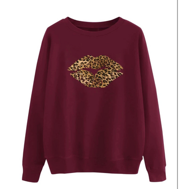 Sweatshirt Leopard Print Lips (2 colours)