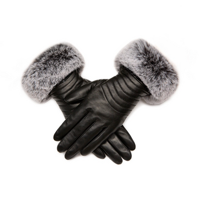 Gloves Leather Black Faux Fur Trim