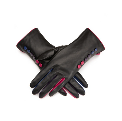 Gloves Leather Black Multi Buttons & Fingers