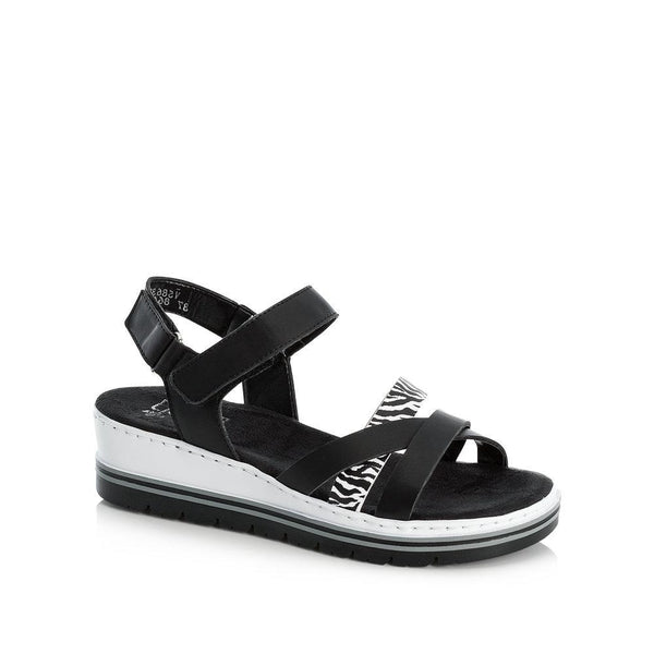 Rieker Ladies V5863-00 Black Flatform Sandal Black and White