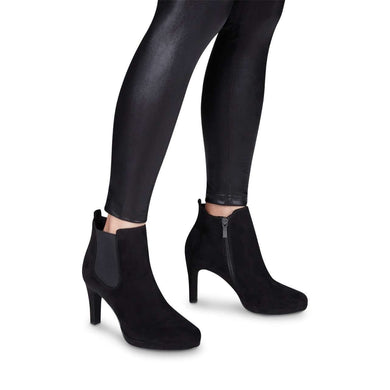 Boot Ankle High Heel Stretch Panel Detail Tamaris Black