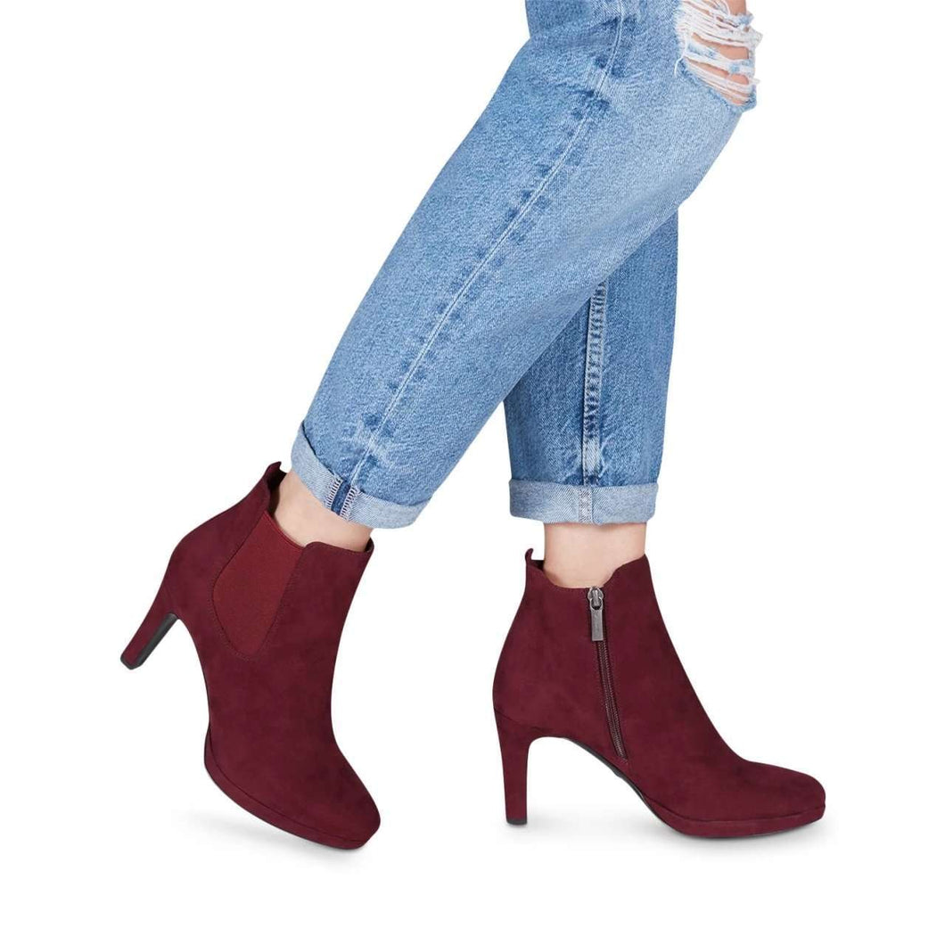 Boot Ankle High Heel Stretch Panel Detail Tamaris Merlot