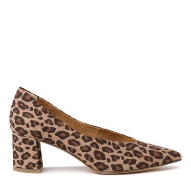 Court Shoe Low Heel V Cut Suede Leopard Marco Tozzi Desert Multi