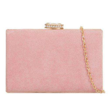Suede Box Clutch Bags Blush