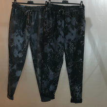 Ladies Super Stretch Draw String Magic Trousers Sparkle Acid Wash Tie Dye Print (2 Colours)