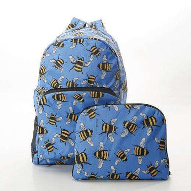 Eco Chic Foldable Mini Backpack Bees Blue