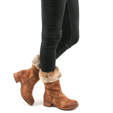 Rieker Ladies Tex Brown Zip Up Mid-Calf Roll Down Boot
