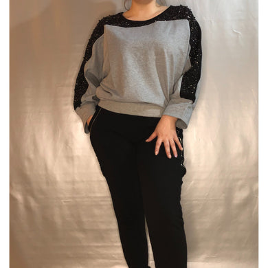 Ladies Sweatshirt Two Tone with Sparkle Pearl Sleeve Panel (2 Colours)