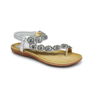 Sandal Flat Strap With Bead Detail Lunar Charlotte Silver