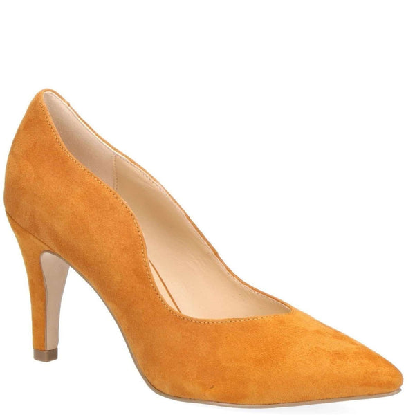 Court Shoe Cut Side Caprice Mustard Suede