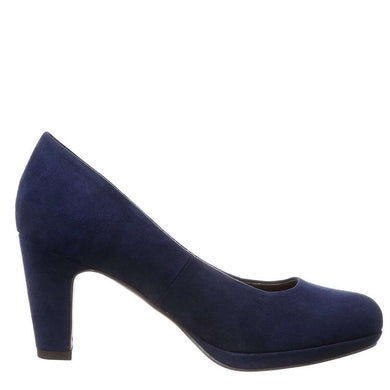 Court Shoe Mid Heel Tamaris Suede Navy
