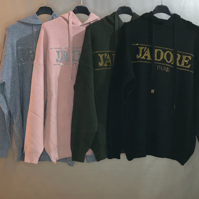 Ladies Knitted Hoodie J'Adore Paris Sparkle (4 Colous)