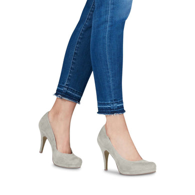 Court Shoe Round Toe High Heel Tamaris Suede Grey