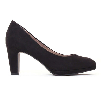 Court Shoe Mid Heel Tamaris Suede Black