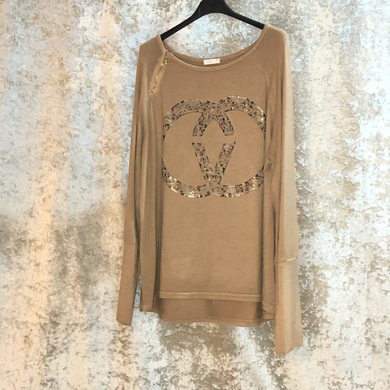 Jumper Fine Knit Long Sleeve Zip Detail CC Metallic Camel