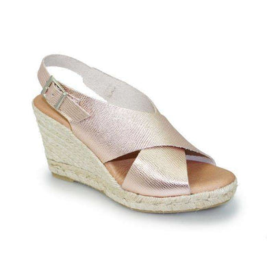 Espadrille Style Leather Wedge Sandal Lunar Houston Rose Gold