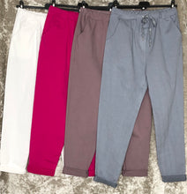 Ladies Super Stretch Draw String Magic Trousers Plain ( 8 Colours)