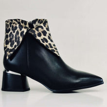Low Block Heel Ankle Boot With Leopard Cuff Betsy Black