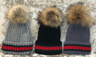 Striped Pom Pom Hat (3 Colours)