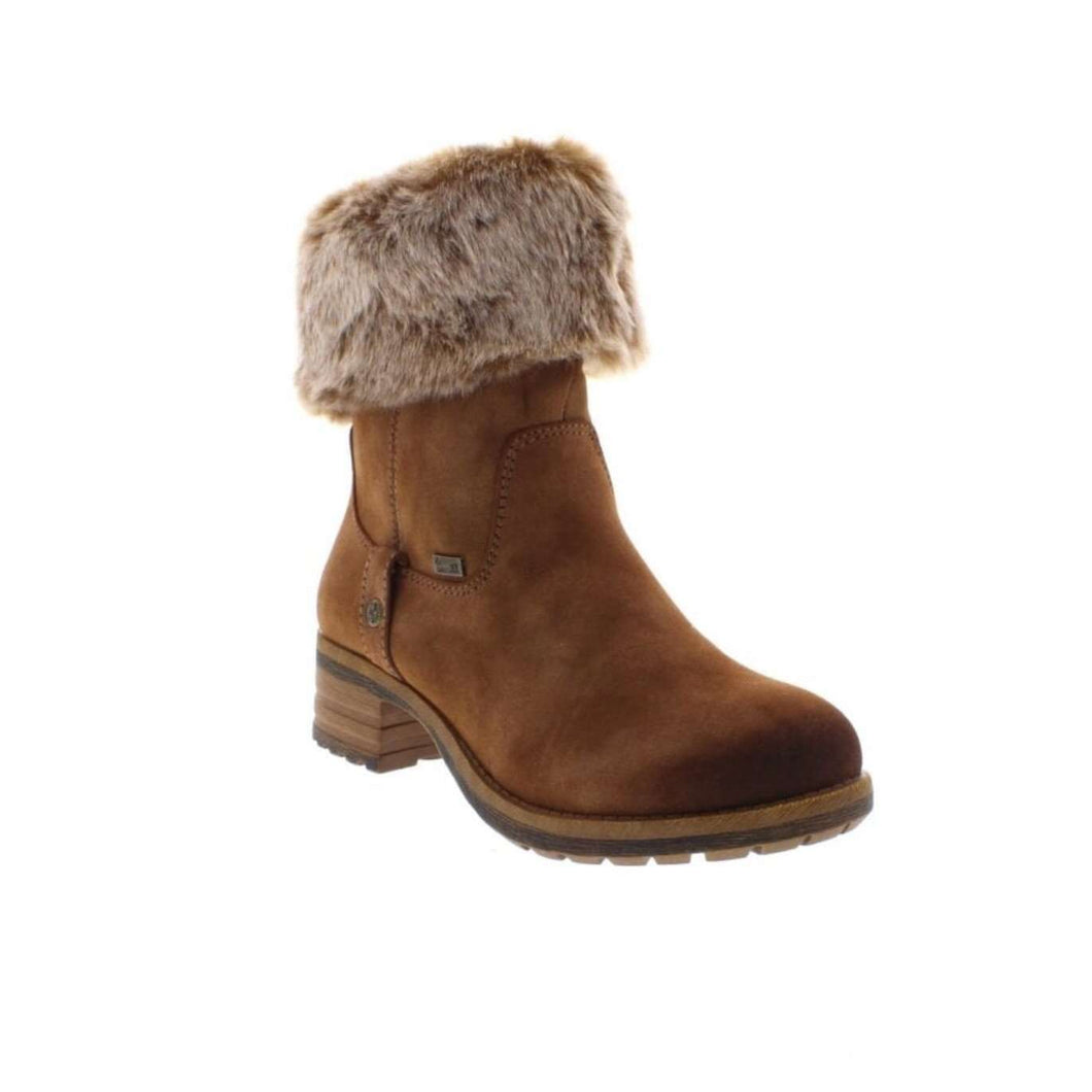 Boot Mid Calf Roll Down Top Rieker Tex Tan Brown