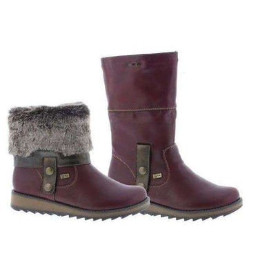 Boot Mid Calf Roll Down Top Remonte Tex Burgundy