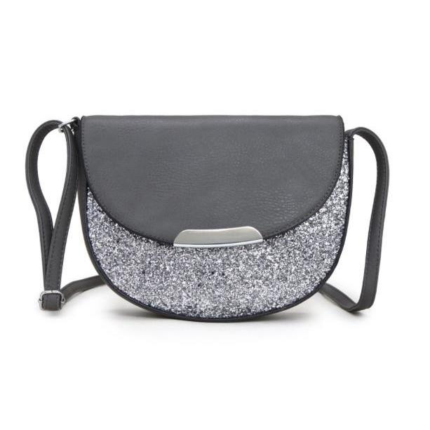 Saddle Bag Glitter/Leather Look Flap(4 Colours)
