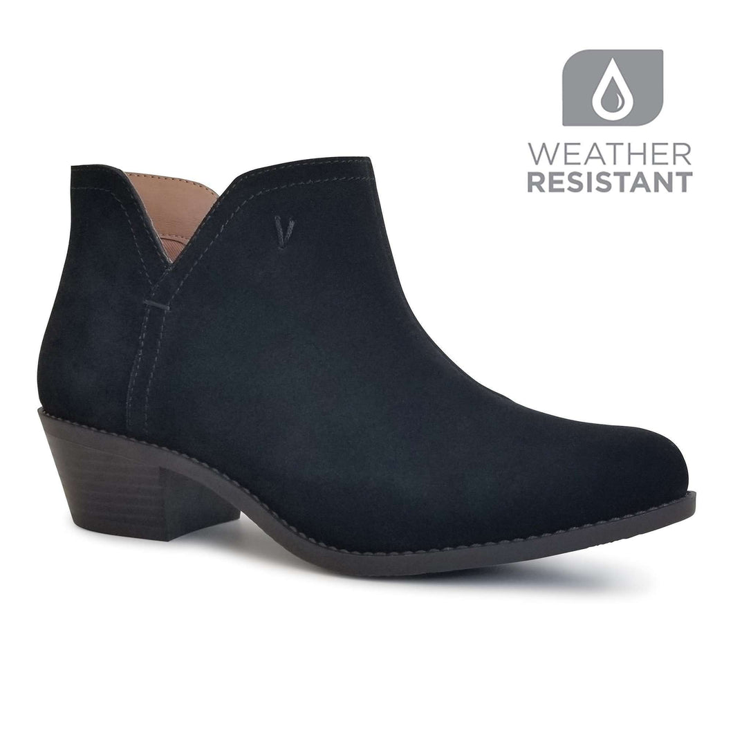 Vionic LIV Ankle Boot Water Resistant Suede In Black
