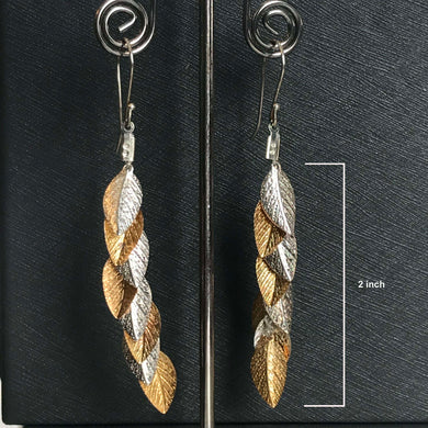 Danon Inna Leaf Long Earring Sliver and Gold