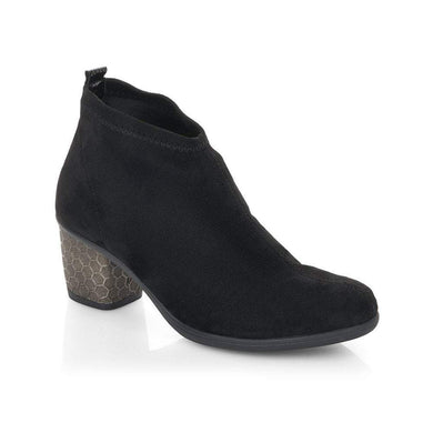 Remonte Ladies Black Pull On Heeled Ankle Boots