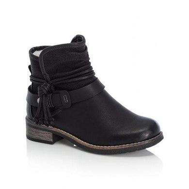 Rieker Ladies Black Zip Up Ankle Boot With Removable Rope Detail