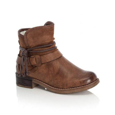 Rieker Ladies Brown Zip Up Ankle Boot With Removable Rope Detail