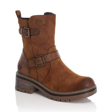 Rieker Ladies Water Repellent Brown Zip Up Ankle Boots