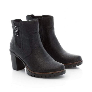 Rieker Ladies Black Buckle Heeled ankle Boot