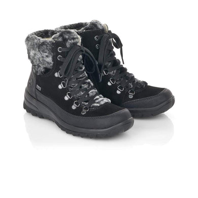 Remonte Black Tex Fur Zip Up Ankle Boots