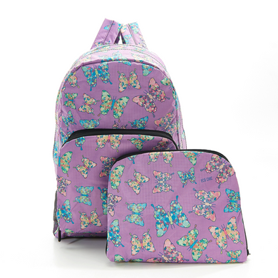 Eco Chic Foldable Backpack Butterflies Purple