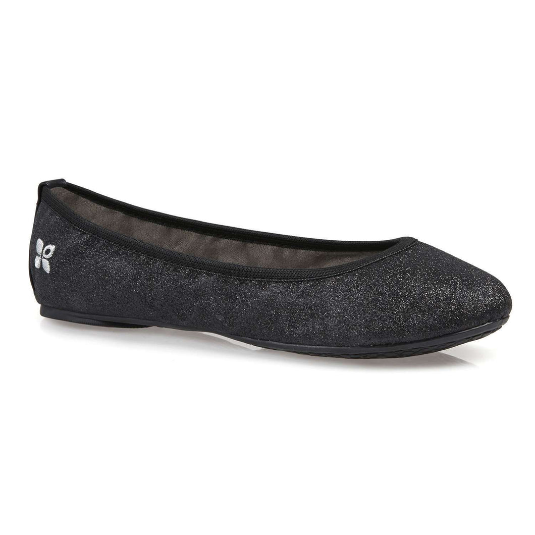 Ballet Pump Butterfly Twists Samantha Black Sparkle