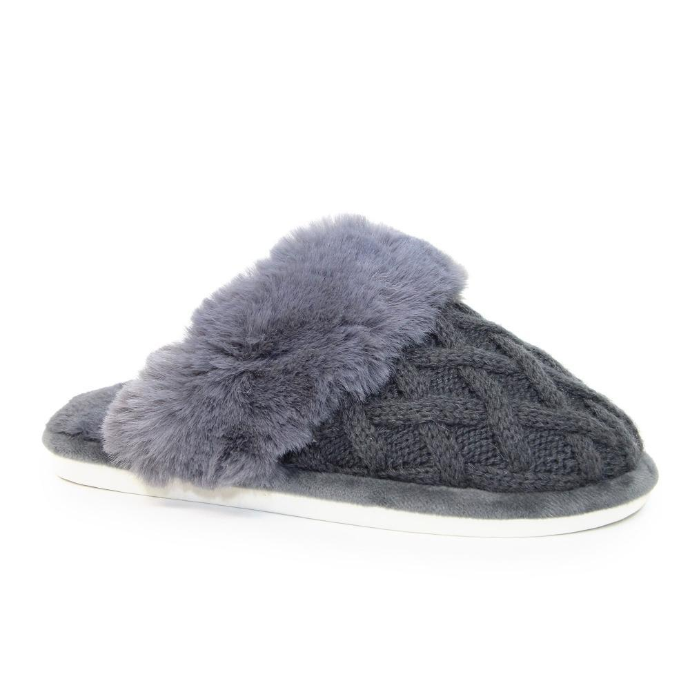 Lunar Shannon Quilted Slipper Grey