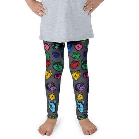 Kids Leggings! Alaskan Malamute Colorful Face Art - Made in America